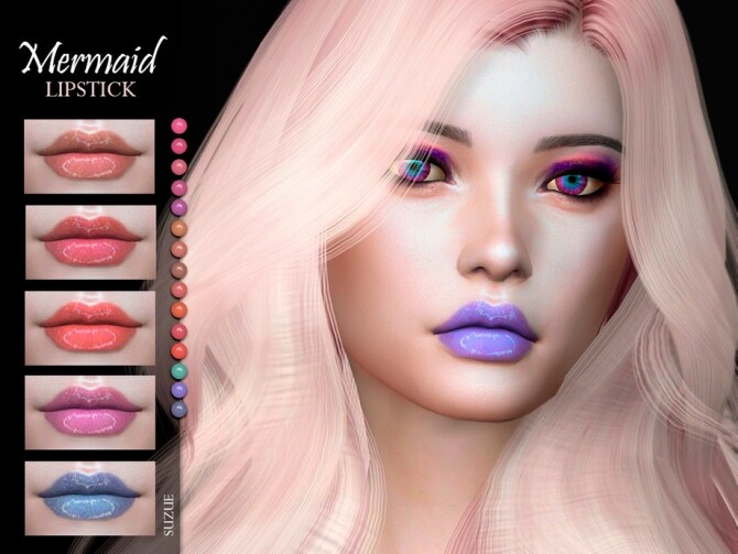 Sims 4 Mermaid Lipstick N13 by Suzue at TSR
