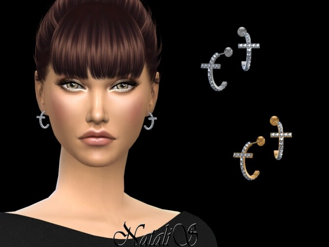 Crystal cross hoop earrings by NataliS at TSR image 5415 670x503 Sims 4 Updates