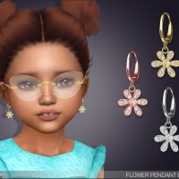 Flower Pendant Earrings For Toddlers by feyona