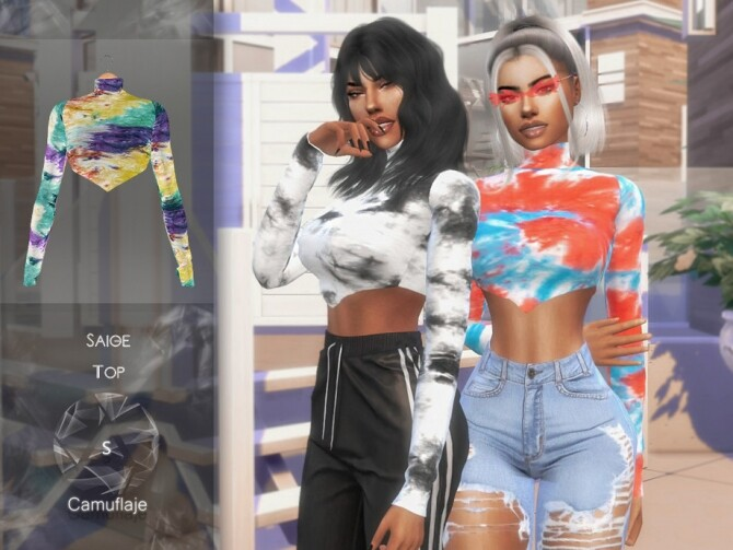 Sims 4 Saige Top by Camuflaje at TSR