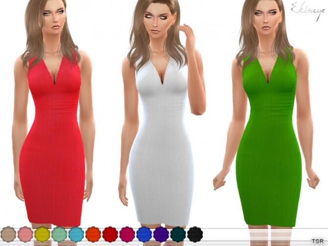Sims 4 Ribbed Sleeveless Dress by ekinege at TSR