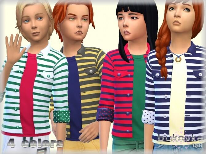Sims 4 Striped Jacket by bukovka at TSR
