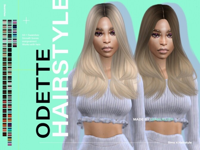 Sims 4 Odette Hairstyle by Leah Lillith at TSR