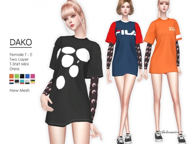 Sims 4 DAKO 2 Layer Mini Dress by Helsoseira at TSR