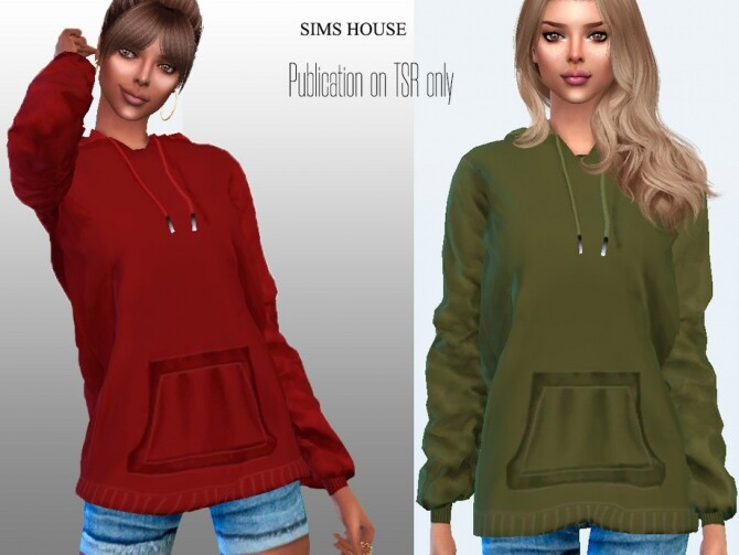 Sims 4 Hoody without a print in dark colors by Sims House at TSR