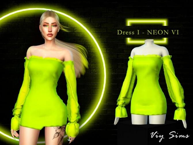 Sims 4 Dress I NEON VI by Viy Sims at TSR