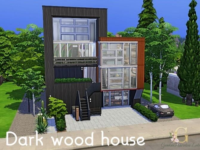 Sims 4 Dark wood house by GenkaiHaretsu at TSR