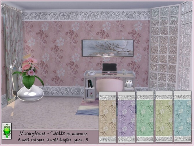 Sims 4 Moonflower walls by marcorse at TSR