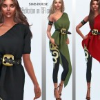 Asymmetric tunic with leggings and belt by Sims House