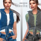 Drawstring Denim Vest with T-shirt by Sims House