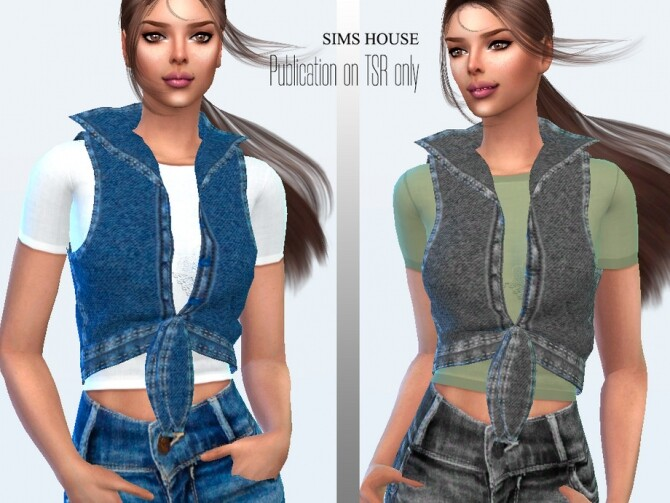 Sims 4 Drawstring Denim Vest with T shirt by Sims House at TSR