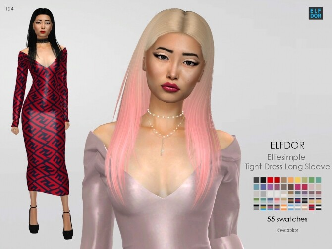 Sims 4 Elliesimple Tight Dress Long Sleeve RC at Elfdor Sims