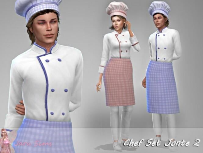 Chef Set Jonte 2 apron and hat by Jaru Sims