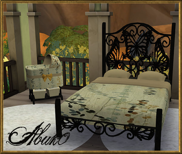 Sims 4 Papilio double bed and baby crib at Abuk0 Sims4