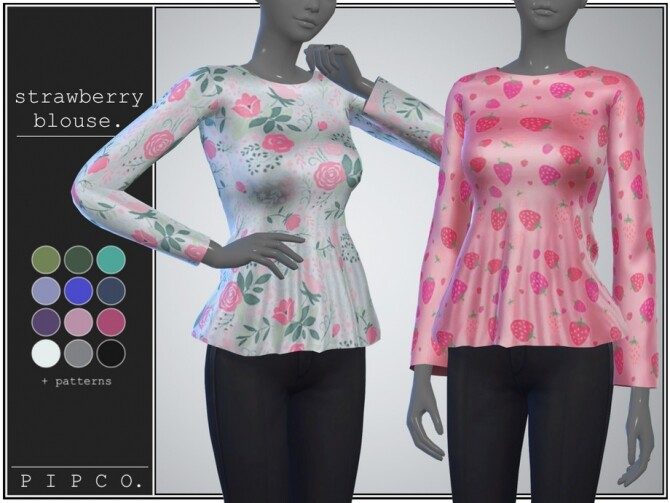 Strawberry blouse by pipco at TSR image 982 670x503 Sims 4 Updates