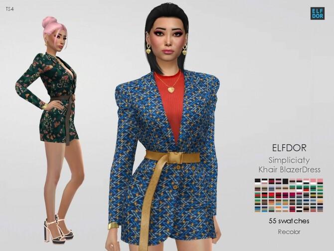 Sims 4 Simpliciaty Khair Blazer Dress RC at Elfdor Sims