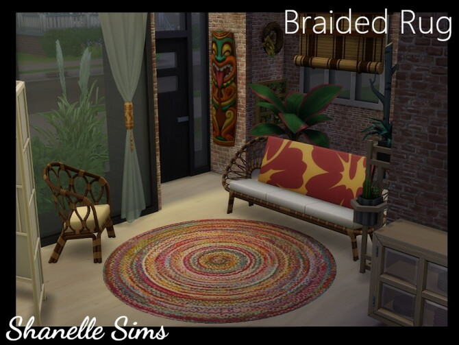 Sims 4 Braided Boho Circle Shape Rug by shanelle.sims at TSR