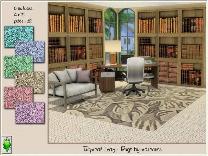 Sims 4 Tropical Leaf Rugs by marcorse at TSR