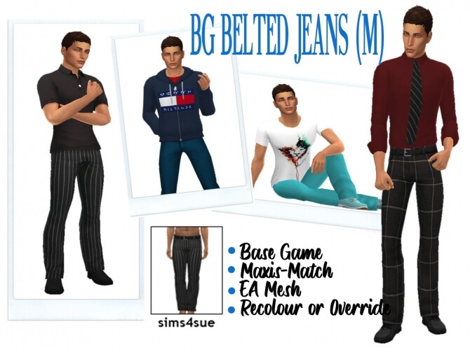 Sims 4 BG BELTED JEANS M at Sims4Sue