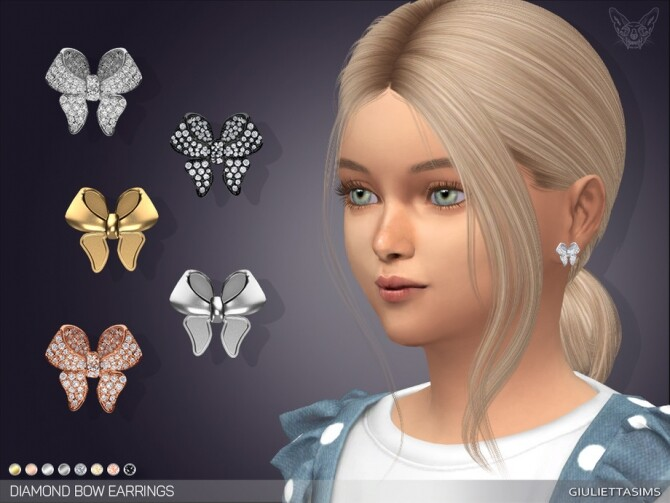 Sims 4 Diamond Pave Bow Earrings For Kids by feyona at TSR