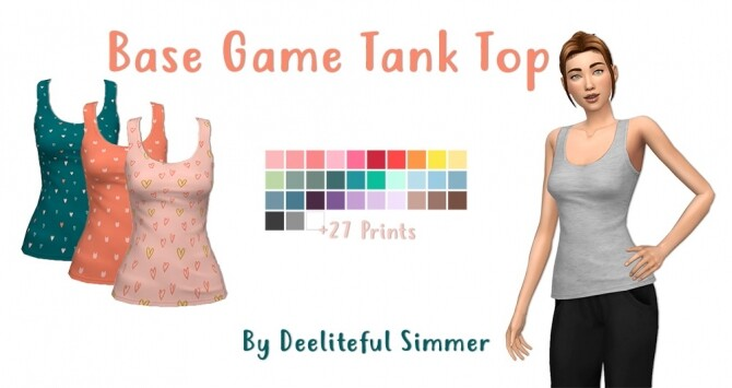 Sims 4 BG Tank Top at Deeliteful Simmer