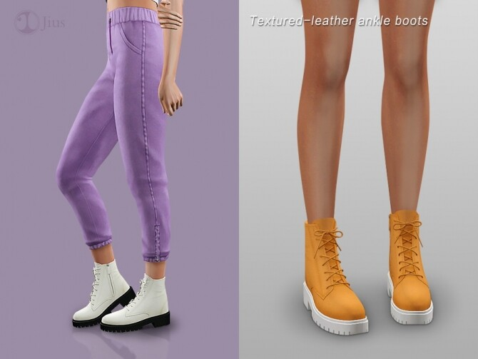 Textured leather ankle boots by Jius at TSR image 10816 670x503 Sims 4 Updates