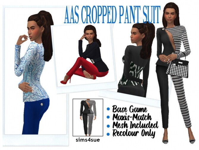 Sims 4 AAS' CROPPED PANT SUIT at Sims4Sue