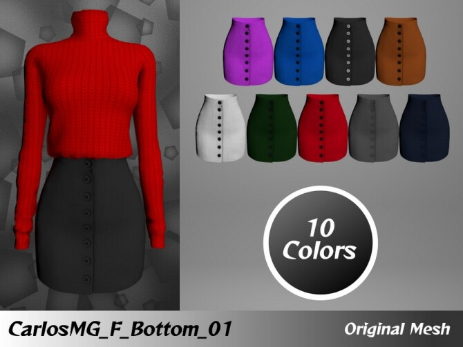 Sims 4 Button skirt by CarlosMG at TSR