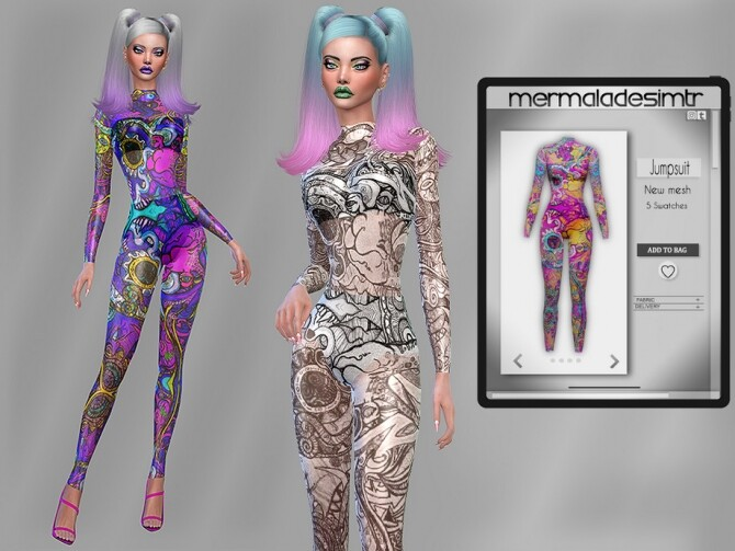 Sims 4 Graffiti Print Jumpsuit MC85 by mermaladesimtr at TSR