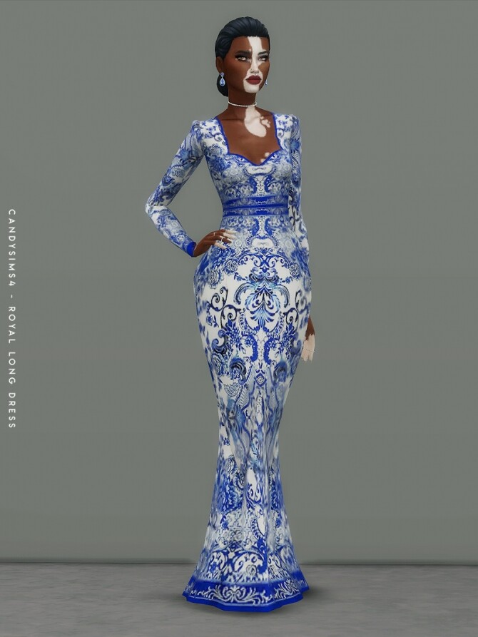Sims 4 ROYAL LONG DRESS at Candy Sims 4
