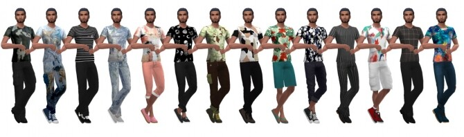 Sims 4 BG PRINTED VEE NECK (M) at Sims4Sue