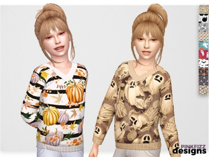 Sims 4 Junior Halloween Sweater by Pinkfizzzzz at TSR