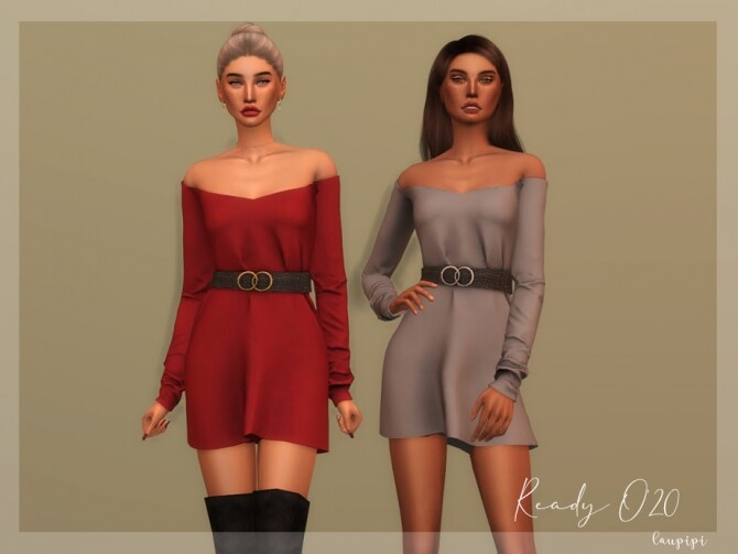 Sims 4 Dress with Belt DR354 by laupipi at TSR