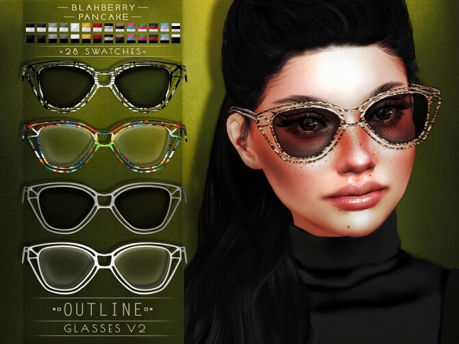 Sims 4 Outline Glasses at Blahberry Pancake