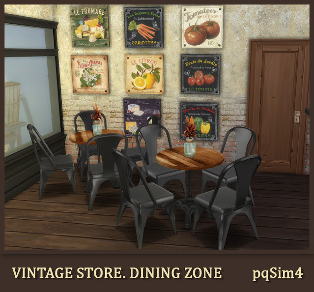Sims 4 Vintage Store. Dining Zone at pqSims4