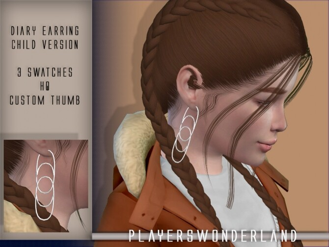 Sims 4 Diary Earrings CHILD by PlayersWonderland at TSR