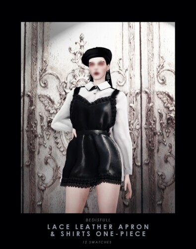 Lace leather apron shirts one-piece