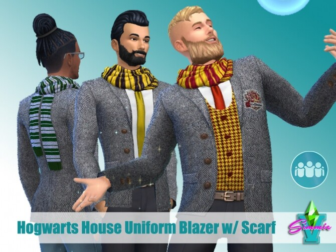 Sims 4 Hogwarts House Jacket w/ Scarf by SimmieV at TSR