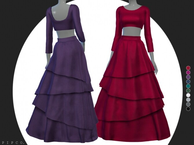 Sims 4 Petal gown by Pipco at TSR