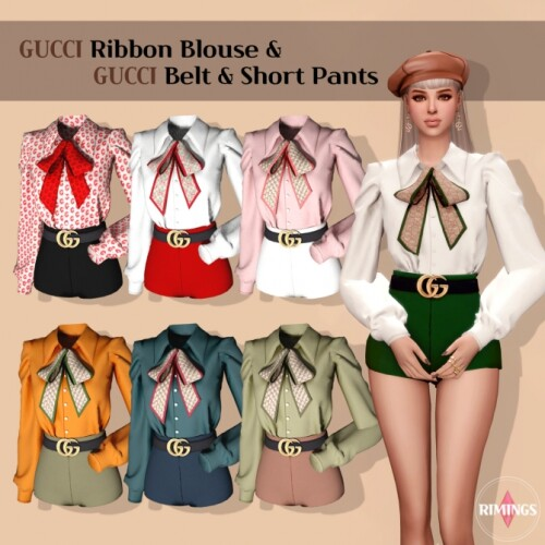 Ribbon Blouse Belt Short Pants