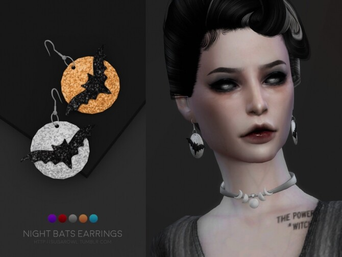 Sims 4 Night Bats earrings by sugar owl at TSR