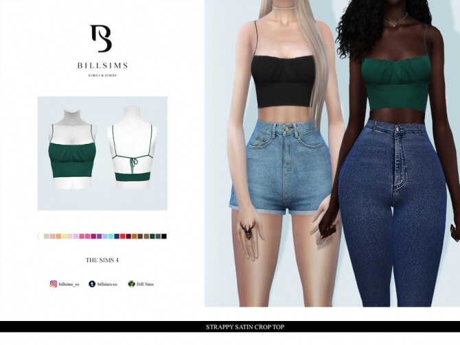 Sims 4 Strappy Satin Crop Top by Bill Sims at TSR