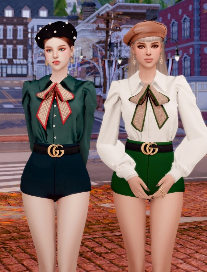 Sims 4 Ribbon Blouse + Belt & Short Pants at RIMINGs