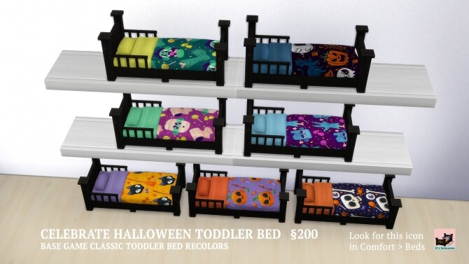 Sims 4 Celebrate Halloween Single & Toddler Beds by ImSuanne at Mod The Sims