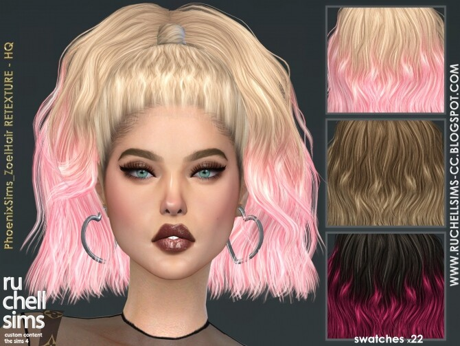 Sims 4 PhoenixSims Zoel Hair RETEXTURE HQ at Ruchell Sims