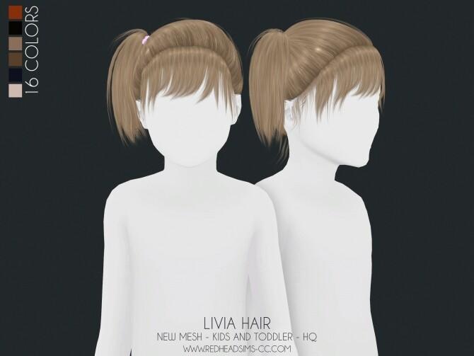 Sims 4 LIVIA HAIR KIDS AND TODDLER at REDHEADSIMS