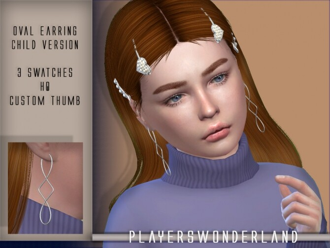 Sims 4 Oval Earrings CHILD by PlayersWonderland at TSR
