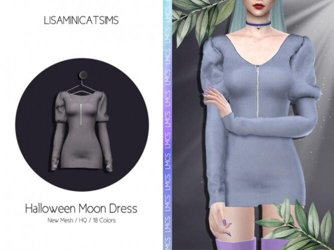 LMCS Halloween Moon Dress by Lisaminicatsims