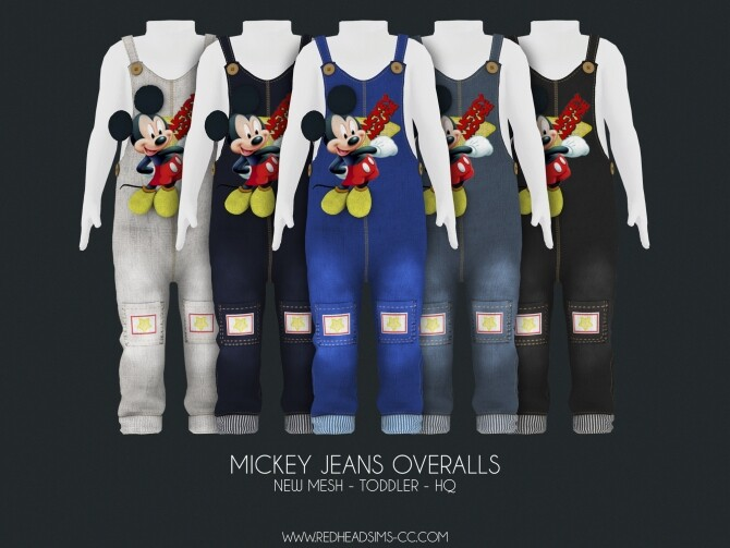 Sims 4 MICKEY JEANS OVERALLS at REDHEADSIMS