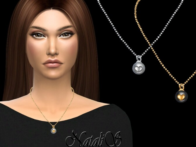 Sims 4 Pearl with heart necklace by NataliS at TSR
